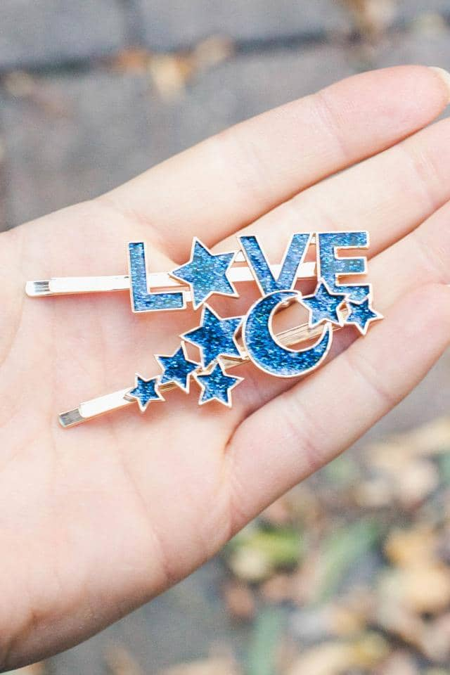 2-pack Barrette Moon Love