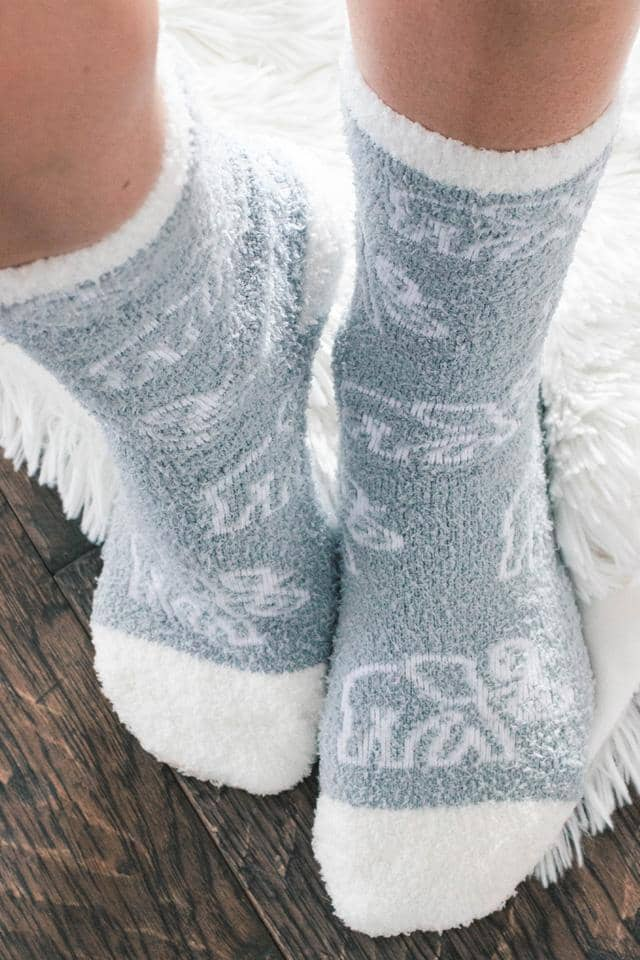 Tossed Elephants Fuzzy Socks