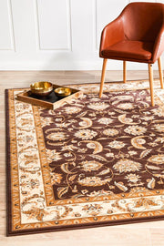 Stunning Formal Floral Design Rug Brown (617905356851)