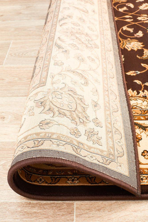 Kemer Dark Brown Traditional Floor Rug (617904635955)