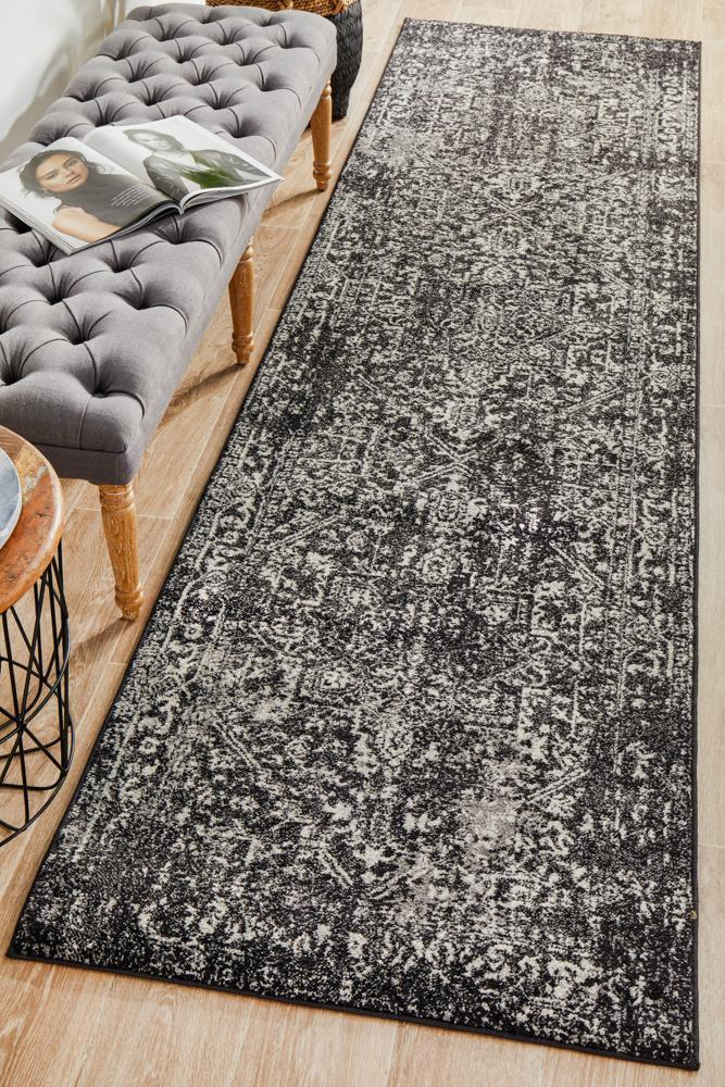 Scape Charcoal Transitional Rug Runner