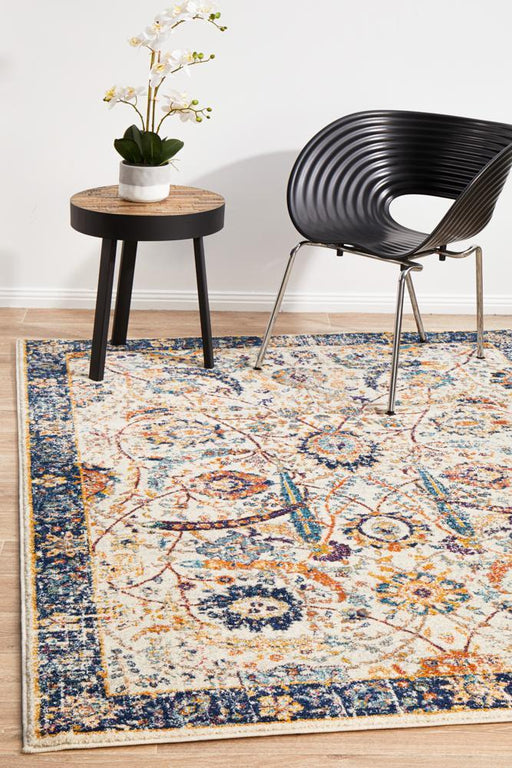 Chantilly Ivory & Blue Faded Floor Rug
