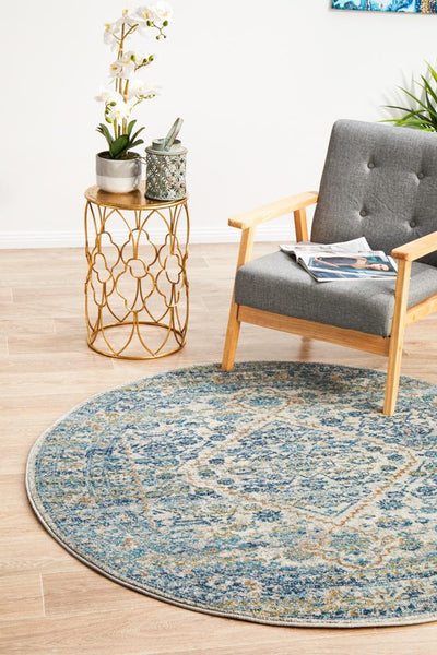 Duality Silver Transitional Round Rug