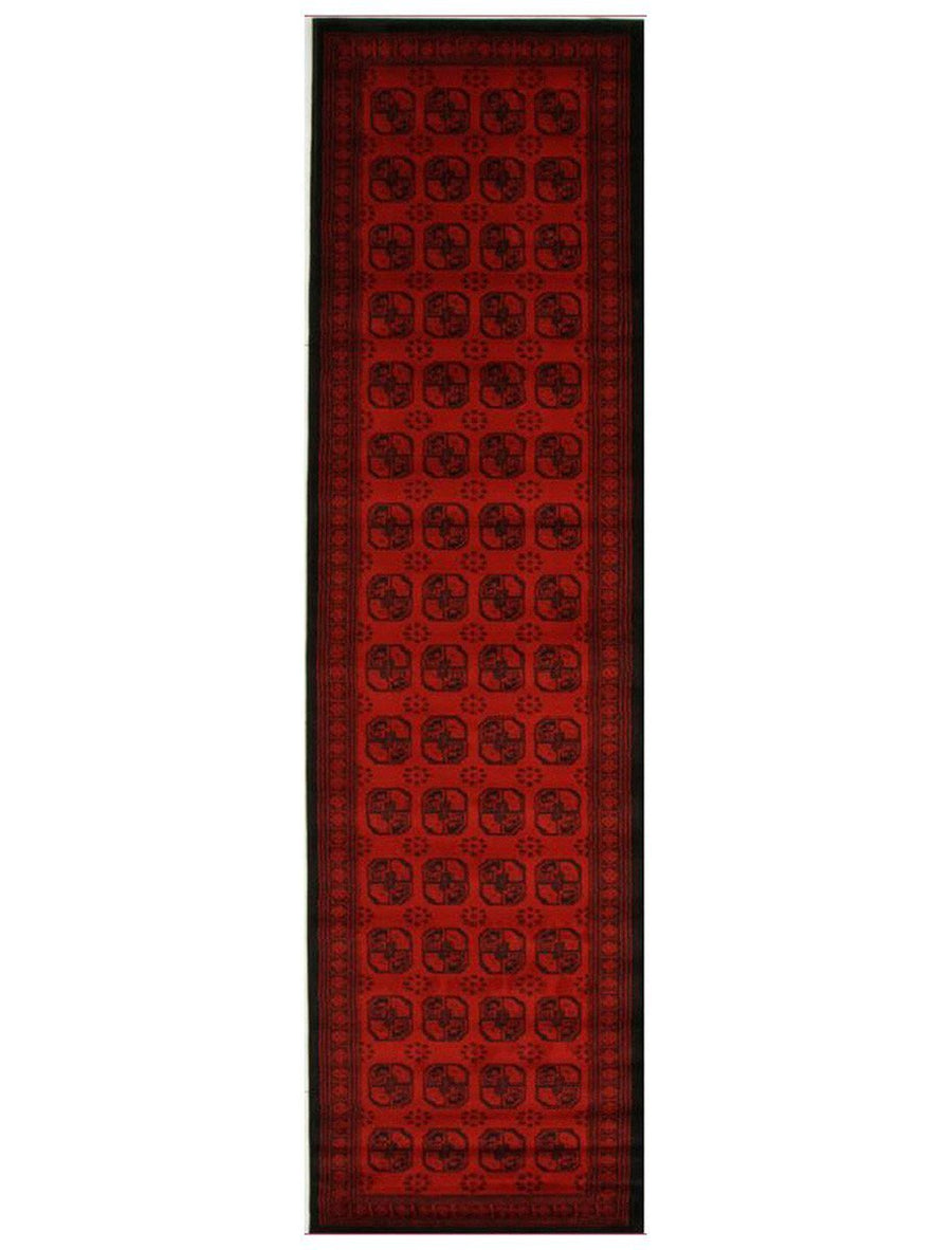 Classic Afghan Design Rug Red Runner