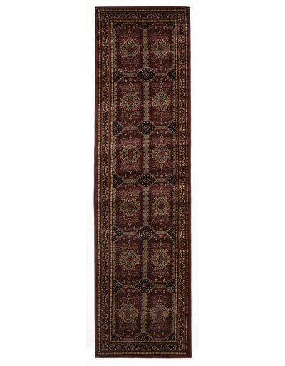 Traditional Afghan Design Rug Burgundy Red Runner