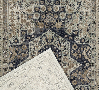 Esquire Brushed Traditional Blue Rug
