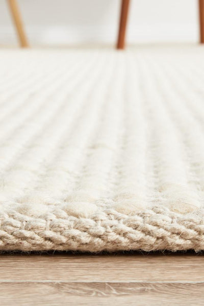 Carlos Felted Wool Rug White Natural - Rug Emporium