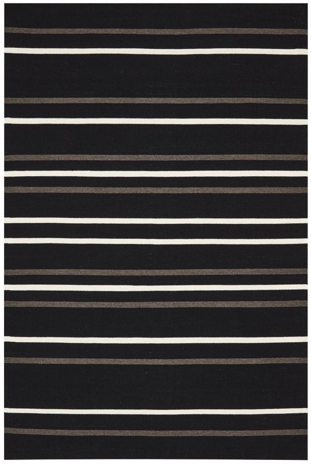 Hand Knotted Black Stripe Wool Flatweave Rug (3926425671)