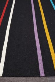 Hand Knotted Multi-Colour Stripe Wool Flatweave Rug (3926433351)
