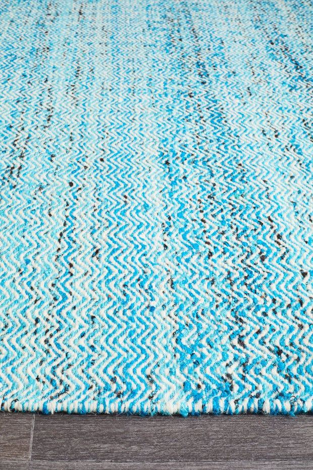 Hand Knotted Blue Wool Flatweave Rug (3926462407)