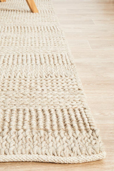 Hand Braided Grey Felted Wool Rug