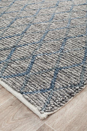 Luxury Madras Felted Wool Rug Blue Grey