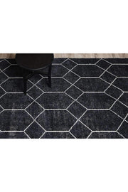 Geometrics Handwoven Wool & Viscose Black Rug-Modern-Colorscope by Cadry's-Rug Emporium (508441985075)