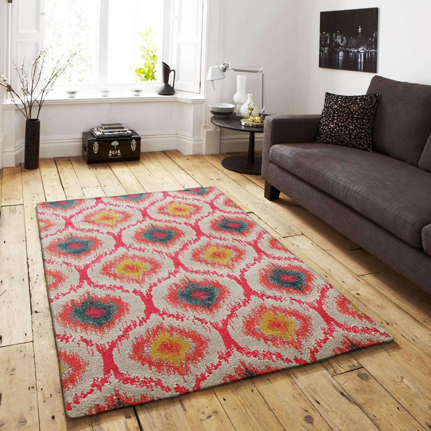 Gypsy Heirloom Rug Pink Yellow Grey-Modern-Rug Culture-Rug Emporium (3926070471)