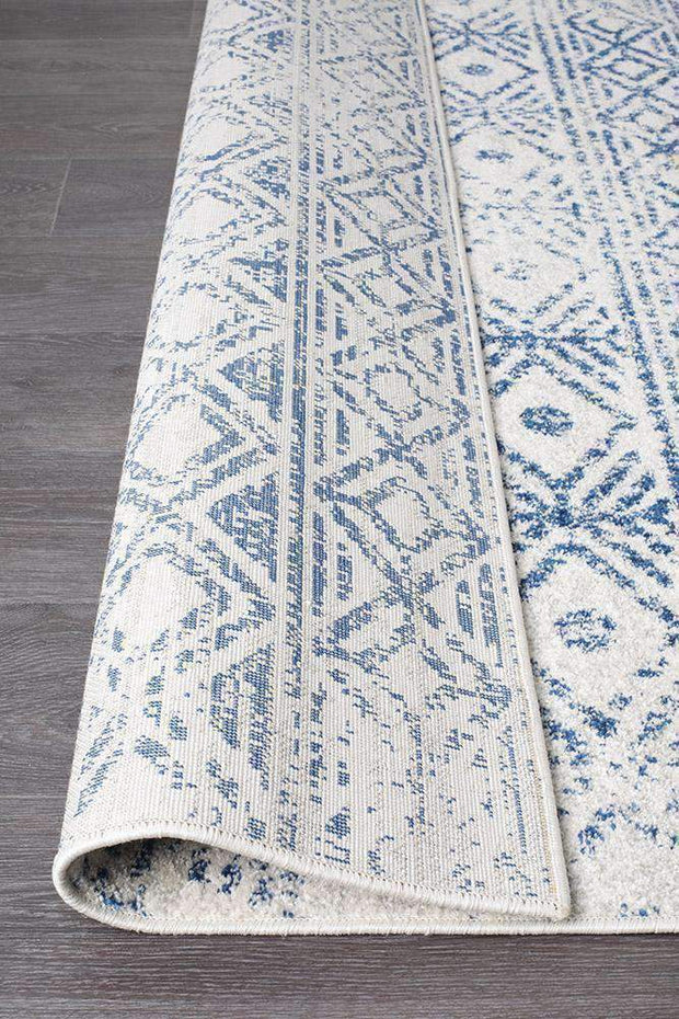 Ismail White Blue Rustic Rug-Modern-Rug Culture-Rug Emporium (573679894579)