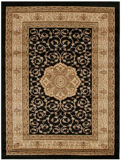 Medallion Classic Design Rug Black-Traditional-Rug Culture-Rug Emporium