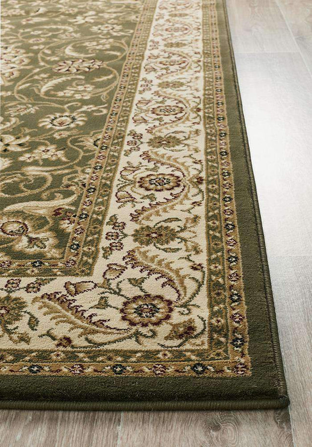 Medallion Rug Green With Ivory Border-Traditional-Rug Culture-Rug Emporium (617898606643)