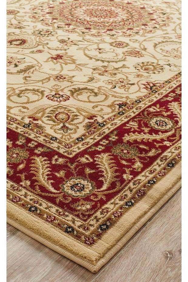 Medallion Rug Ivory With Red Border-Traditional-Rug Culture-Rug Emporium (617898344499)