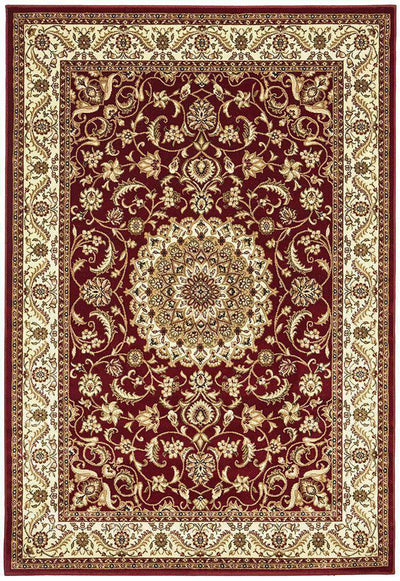 Medallion Rug Red With Ivory Border-Traditional-Rug Culture-Rug Emporium