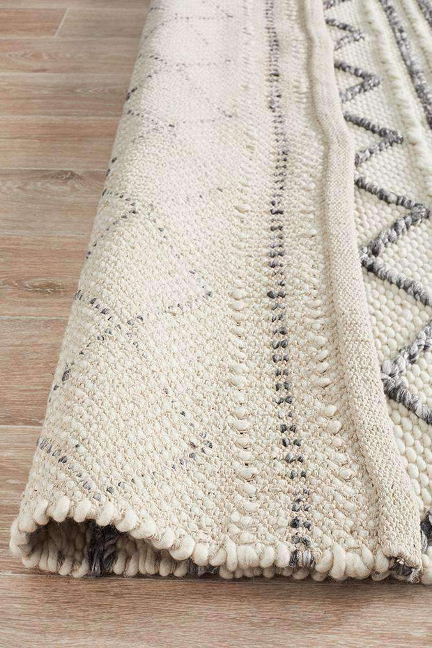 Milly Textured Woollen Rug White Grey-Modern-Rug Culture-Rug Emporium (11018373703)