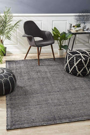 Olot Cotton & Rayon Black Floor Rug-Modern-Rug Culture-Rug Emporium (10512527111)