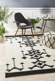 Rhea Cross Stitch Rug Black White-Modern-Rug Culture-Rug Emporium (1385150152755)