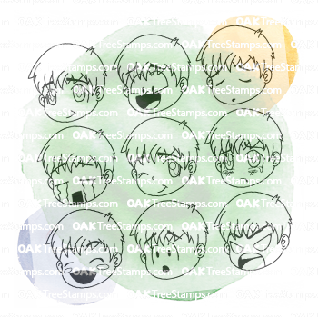 Chibi Boy Expressions Stamp Set