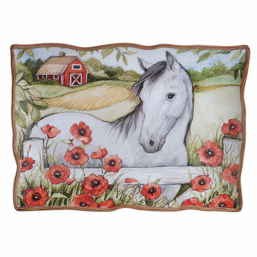 Horse in Poppies Rectangular Platter - CarouselHorseTack.com