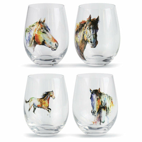 Equine Stemless Wine Glass Set of 4