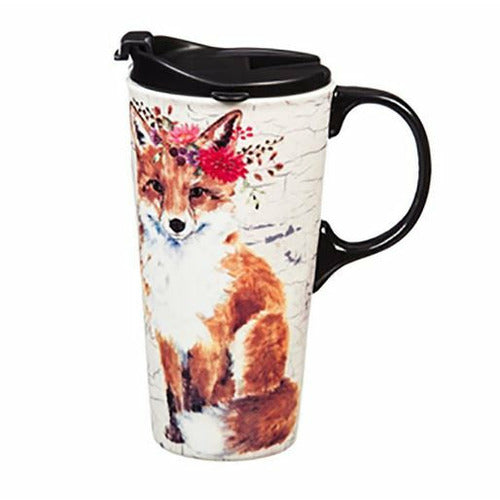 Ceramic Coffee Cup - Fox with Flowers