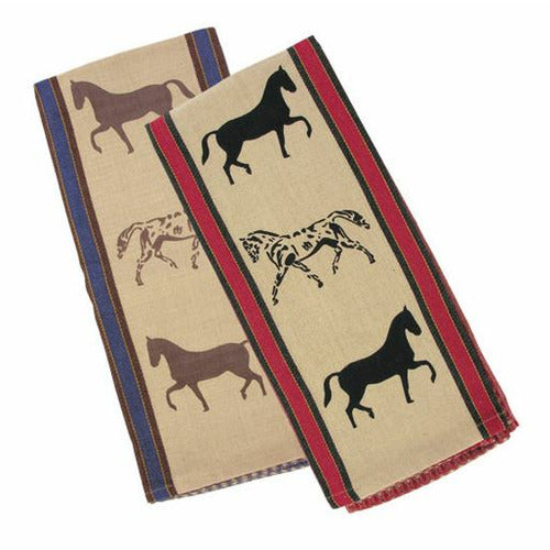 Show Horses Waffle Weave Kitchen Towels