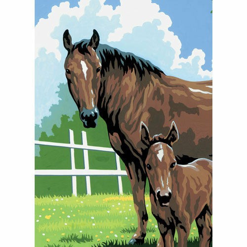 "Mini Mare and Foal Paint By Number- 5"" x 7"" - CarouselHorseTack.com"