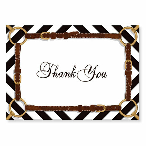 Stirrups and Silks Equestrian Thank You Note Cards - 8-Pack