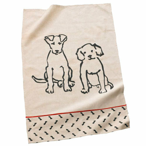 Cotton Kitchen Towel with Puppies