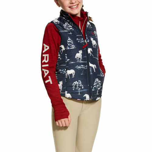 Ariat Girls Emma Reversible Vest - Navy Print