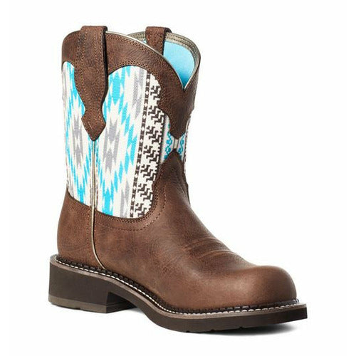 Ariat Womes Fatbaby Heritage Twill Dark Cottage Turquoise Aztec Boot