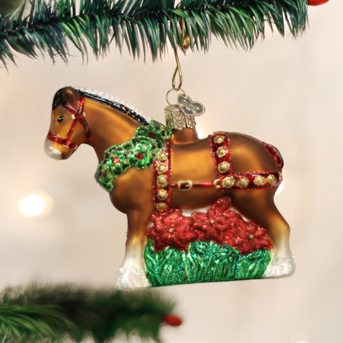Old World Christmas Holiday Clydesdale Glass Ornament - CarouselHorseTack.com