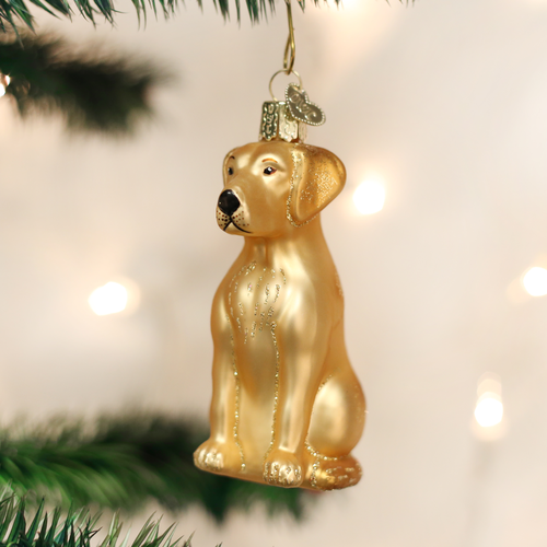 Old World Christmas Yellow Labrador Glass Ornament