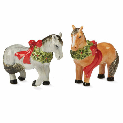 Horses with Wreath Garland Ceramic Salt & Pepper Shakers