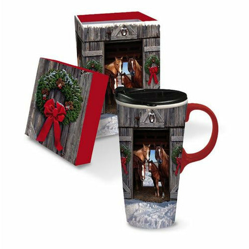 Ceramic Coffee Cup - Holiday Horses in Barn