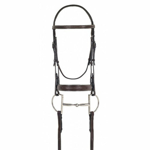 Ovation Elite Collection- Fancy Raised Comfort Crown Flat Wide Nose Padded Bridle with Fancy Raised Laced Reins - CarouselHorseTack.com