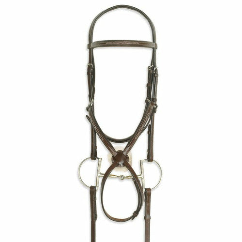 Ovation Classic Collection- Figure 8 Comfort Crown Bridle with BioGrip Rubber Reins - CarouselHorseTack.com