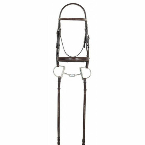 Ovation Classic Collection- Fancy Raised Comfort Crown Wide Noseband Bridle with Fancy Raised Laced Reins - CarouselHorseTack.com