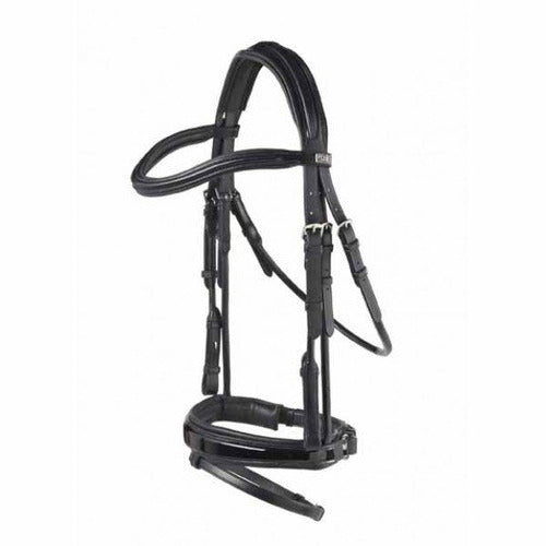 PDS Carl Hester Rolled Snaffle Bridle with Flash and Rubber Lined Snaffle Reins - CarouselHorseTack.com