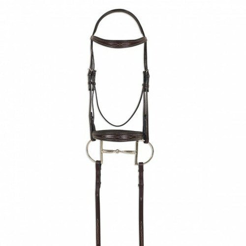 Ovation ATS Square Raised Taper Nose Fancy Stitch Bridle - CarouselHorseTack.com