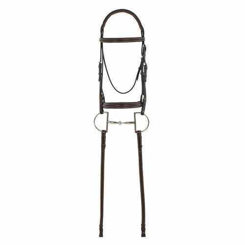 Camelot Gold RCS Plain Raised Padded Bridle with Reins - CarouselHorseTack.com