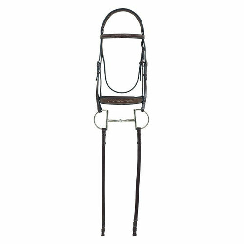 Camelot Gold RCS Fancy Raised Wide Nose Padded Bridle with Reins - CarouselHorseTack.com