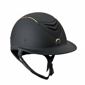 One K Defender AVANCE Wide Brim Rose Gold Stripe Helmet - CarouselHorseTack.com