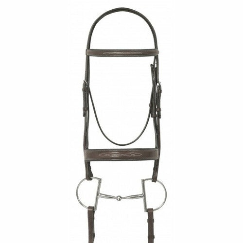 Ovation Elite Collection- Fancy Raised Traditional Crown Flat Wide Nose Padded Bridle with Fancy Raised Lace Reins - CarouselHorseTack.com
