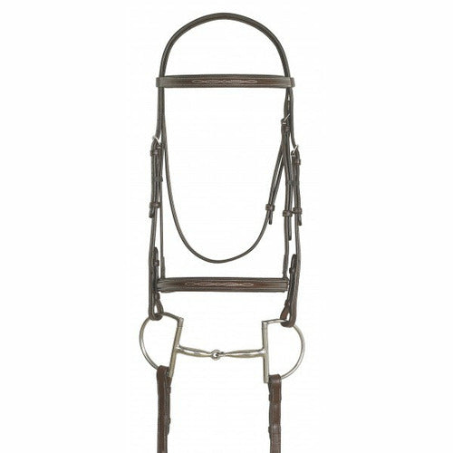 Ovation Elite Collection- Fancy Raised Traditional Crown Padded Bridle with Raised Fancy Laced Reins - CarouselHorseTack.com